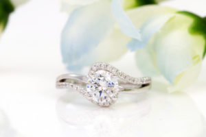 Round Engagement Ring With Baguettes